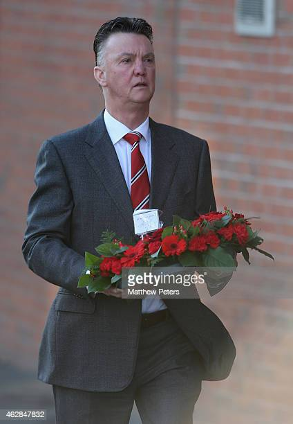 Manager Louis van Gaal of Manchester United lays a wreath the Munich Air Disaster memorial to remember the 21 people killed on 6 February 1958...