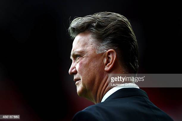 Manager Louis van Gaal of Manchester United looks on before the Barclays Premier League match between Manchester United and West Ham United at Old...