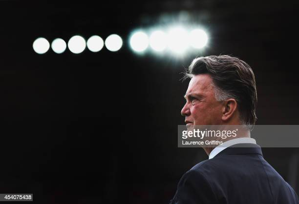Manager Louis van Gaal of Manchester United looks on prior to the Barclays Premier League match between Sunderland and Manchester United at Stadium...