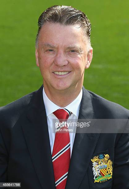 Manager Louis van Gaal of Manchester United poses during the annual club photocall at Old Trafford on September 16 2014 in Manchester England