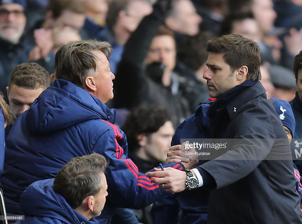 Manager Louis van Gaal of Manchester United shakes hands with Manager Mauricio Pocettino of Tottenham Hotspur after the Barclays Premier League match between Tottenham Hotspur and Manchester United at White Hart Lane on April 10 2016 in London, England