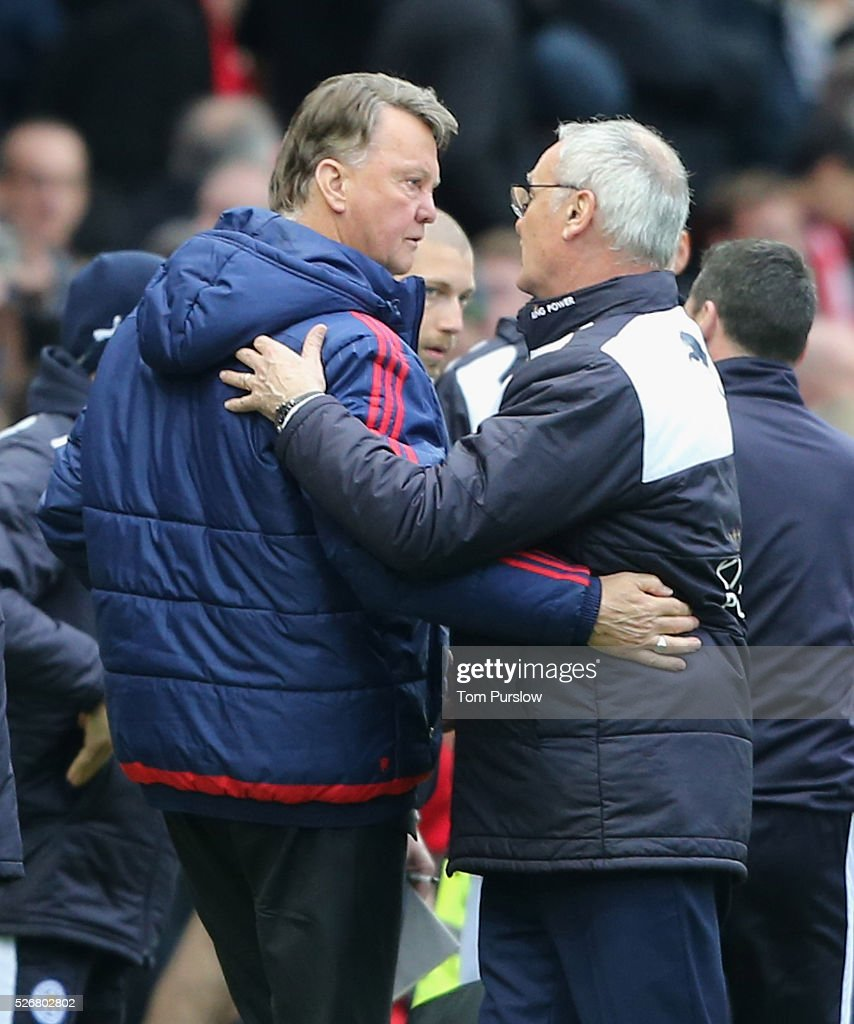 Manager Louis van Gaal of Manchester United shakes hands with Manager Claudio Ranieri of Leicester City after the Barclays Premier League match between Manchester United and Leicester City at Old Trafford on May 1, 2016 in Manchester, England.