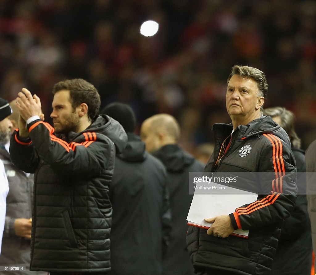 Manager Louis van Gaal of Manchester United shows his disappointment after the UEFA Europa League round of 16 first leg match between Liverpool and Manchester United at Anfield on March 10, 2016 in Liverpool, United Kingdom.