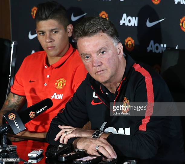 Manager Louis van Gaal of Manchester United speaks at a press conference to unveil new signing Marcos Rojo at Aon Training Complex on August 22 2014...