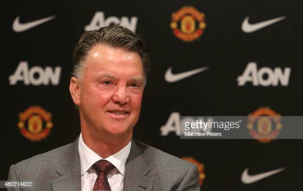 Manager Louis van Gaal of Manchester United speaks at a press conference to announce the signing of Memphis Depay at Old Trafford on July 10 2015 in...