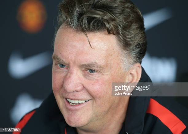 Manager Louis van Gaal of Manchester United speaks during a pre-match press conference at Aon Training Complex on August 29, 2014 in Manchester,...