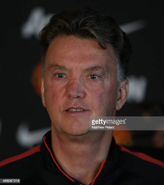 Manager Louis van Gaal of Manchester United speaks during a prematch press conference at Aon Training Complex on September 25 2014 in Manchester...