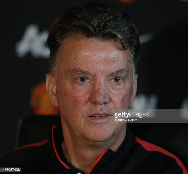 Manager Louis van Gaal of Manchester United speaks during a pre-match press conference at Aon Training Complex on September 25, 2014 in Manchester,...