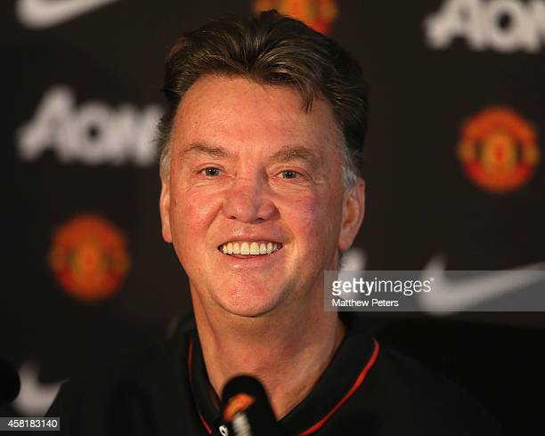 Manager Louis van Gaal of Manchester United speaks during a press conference at Aon Training Complex on October 31, 2014 in Manchester, England.