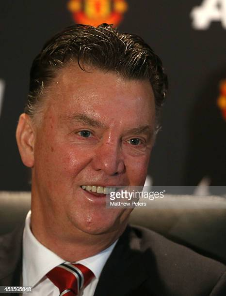 Manager Louis van Gaal of Manchester United speaks during a press conference at Aon Training Complex on November 7 2014 in Manchester England