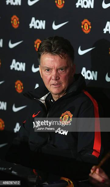 Manager Louis van Gaal of Manchester United speaks during a press conference at Aon Training Complex on November 20, 2014 in Manchester, England.