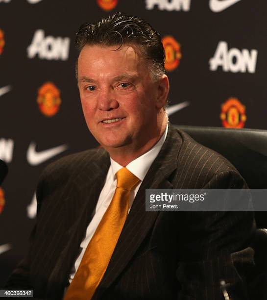 Manager Louis van Gaal of Manchester United speaks during a press conference at Aon Training Complex on December 12 2014 in Manchester England