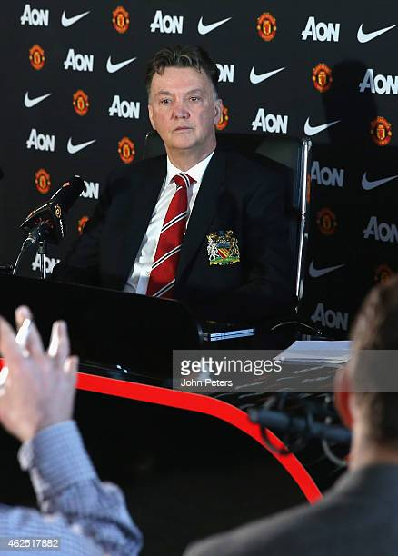 Manager Louis van Gaal of Manchester United speaks during a press conference at Aon Training Complex on January 30, 2015 in Manchester, England.