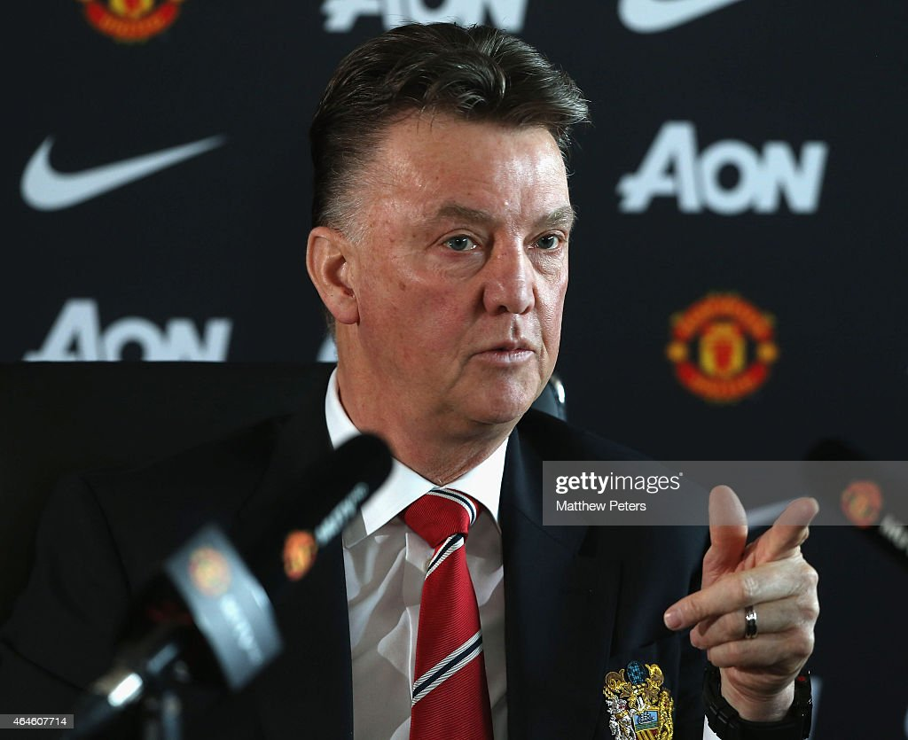 Manager Louis van Gaal of Manchester United speaks during a press conference at Aon Training Complex on February 27, 2015 in Manchester, England.