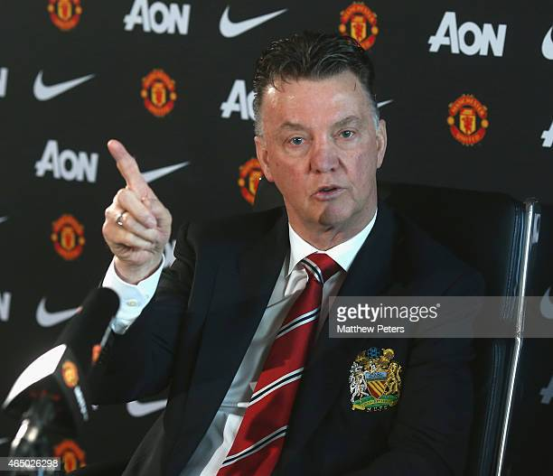 Manager Louis van Gaal of Manchester United speaks during a press conference at Aon Training Complex on March 3 2015 in Manchester England