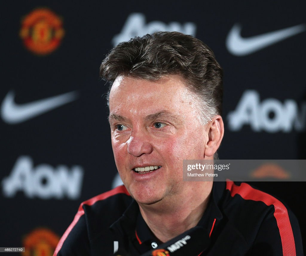 Manager Louis van Gaal of Manchester United speaks during a press conference at Aon Training Complex on March 5, 2015 in Manchester, England.