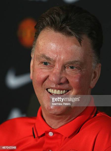Manager Louis van Gaal of Manchester United speaks during a press conference at Aon Training Complex on March 20 2015 in Manchester England