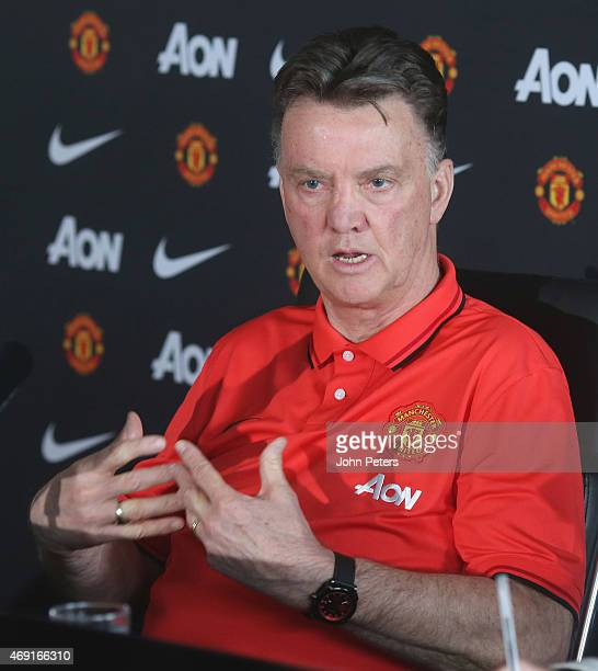 Manager Louis van Gaal of Manchester United speaks during a press conference at Aon Training Complex on April 10 2015 in Manchester England