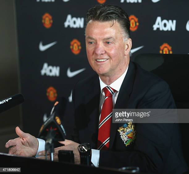 Manager Louis van Gaal of Manchester United speaks during a press conference at Aon Training Complex on May 1 2015 in Manchester England