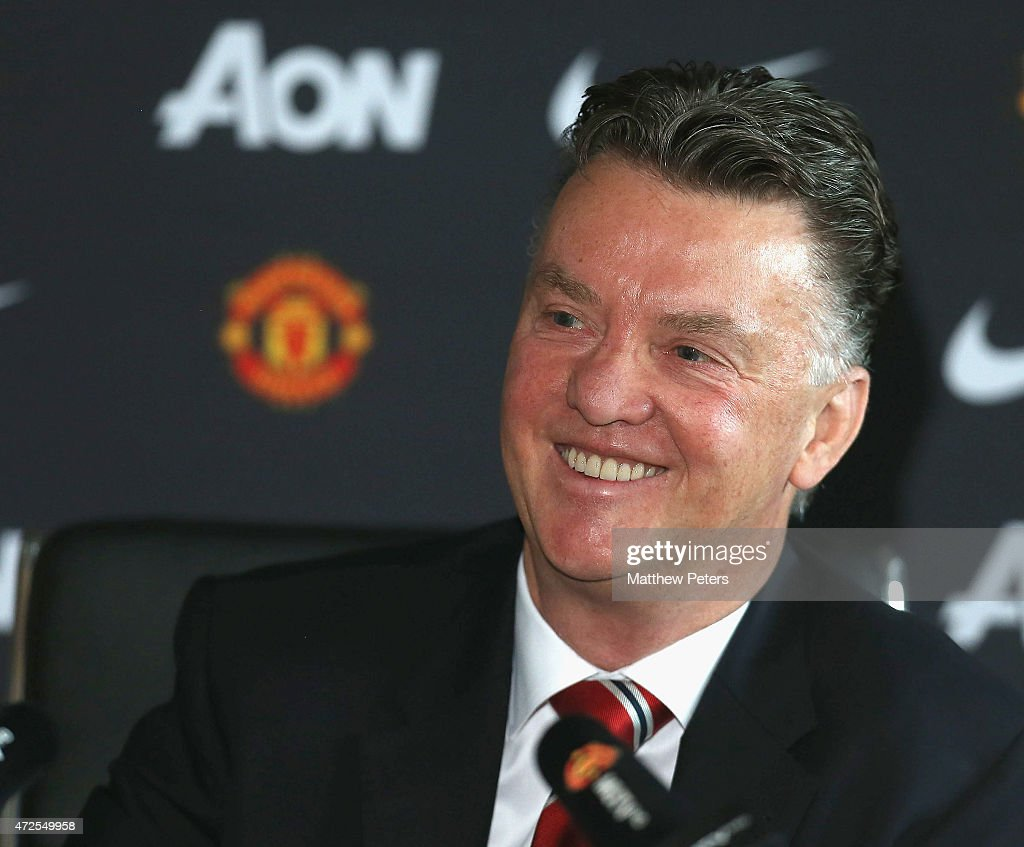 Manager Louis van Gaal of Manchester United speaks during a press conference at Aon Training Complex on May 8, 2015 in Manchester, England.