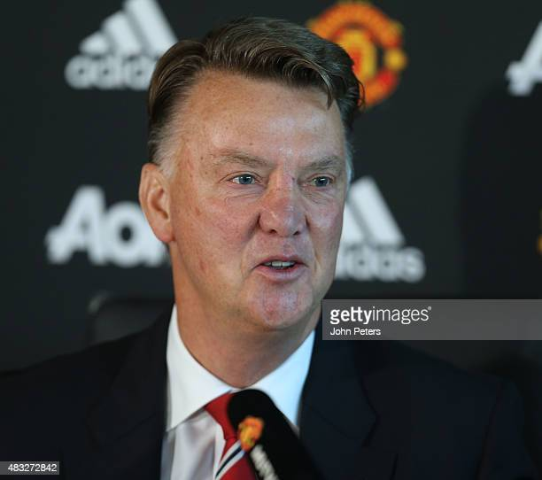 Manager Louis van Gaal of Manchester United speaks during a press conference at Aon Training Complex on August 7 2015 in Manchester England
