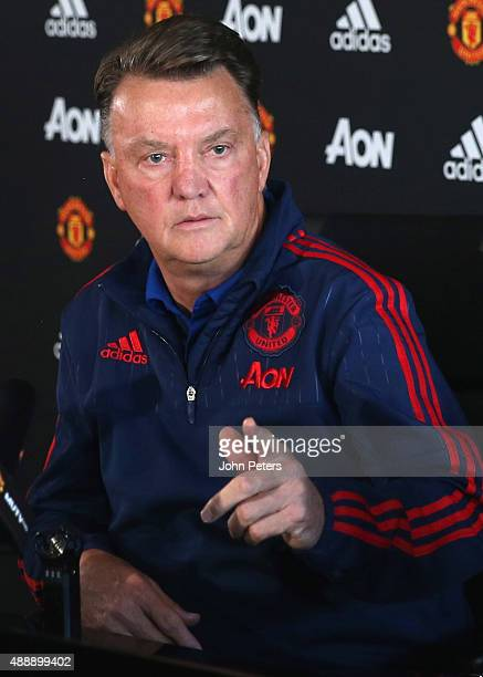 Manager Louis van Gaal of Manchester United speaks during a press conference at Aon Training Complex on September 18, 2015 in Manchester, England.