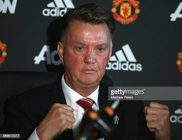 Manager Louis van Gaal of Manchester United speaks during a press conference at Aon Training Complex on September 25, 2015 in Manchester, England.