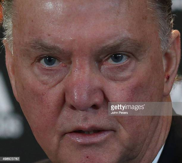 Manager Louis van Gaal of Manchester United speaks during a press conference at Aon Training Complex on November 27, 2015 in Manchester, England.