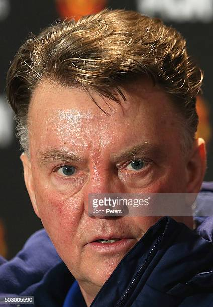 Manager Louis van Gaal of Manchester United speaks during a press conference at Aon Training Complex on December 31, 2015 in Manchester, England.