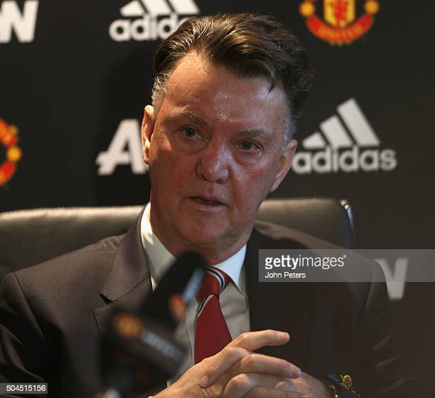 Manager Louis van Gaal of Manchester United speaks during a press conference at Aon Training Complex on January 11 2016 in Manchester England