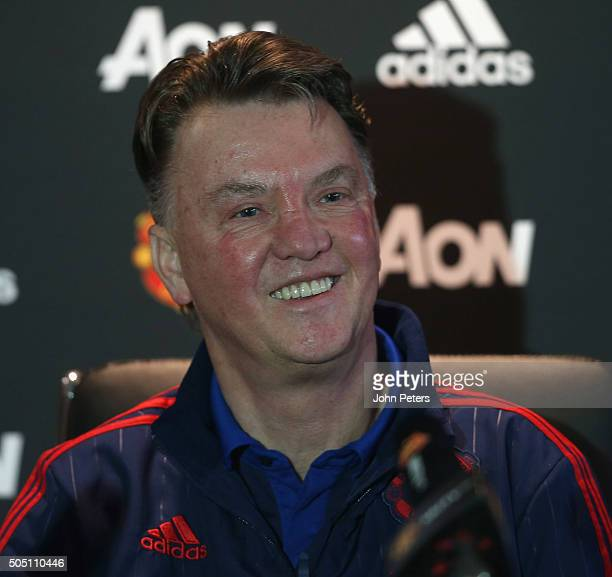 Manager Louis van Gaal of Manchester United speaks during a press conference at Aon Training Complex on January 15, 2016 in Manchester, England.