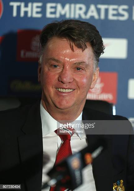 Manager Louis van Gaal of Manchester United speaks during a press conference at Aon Training Complex on January 28 2016 in Manchester England