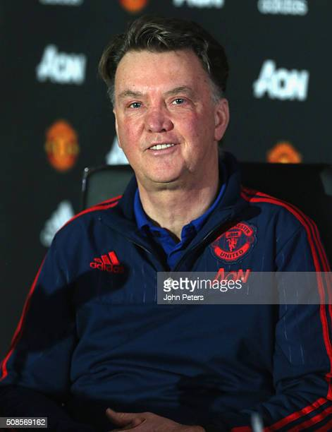 Manager Louis van Gaal of Manchester United speaks during a press conference at Aon Training Complex on February 5, 2016 in Manchester, England.