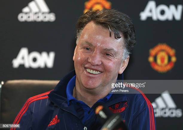 Manager Louis van Gaal of Manchester United speaks during a press conference at Aon Training Complex on February 12 2016 in Manchester England