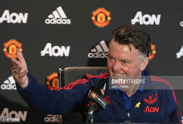 Manager Louis van Gaal of Manchester United speaks during a press conference at Aon Training Complex on March 4 2016 in Manchester England