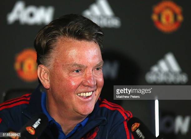 Manager Louis van Gaal of Manchester United speaks during a press conference at Aon Training Complex on April 1 2016 in Manchester England