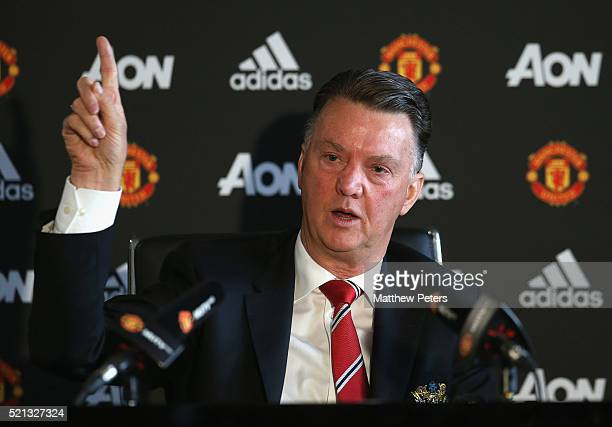 Manager Louis van Gaal of Manchester United speaks during a press conference at Aon Training Complex on April 15 2016 in Manchester England