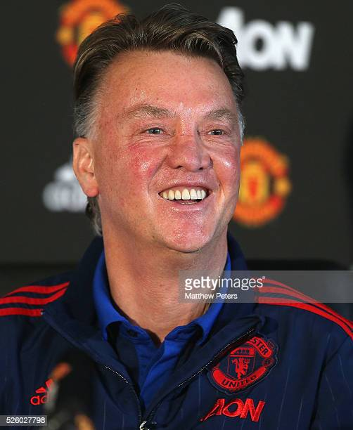 Manager Louis van Gaal of Manchester United speaks during a press conference at Aon Training Complex on April 29, 2016 in Manchester, England.