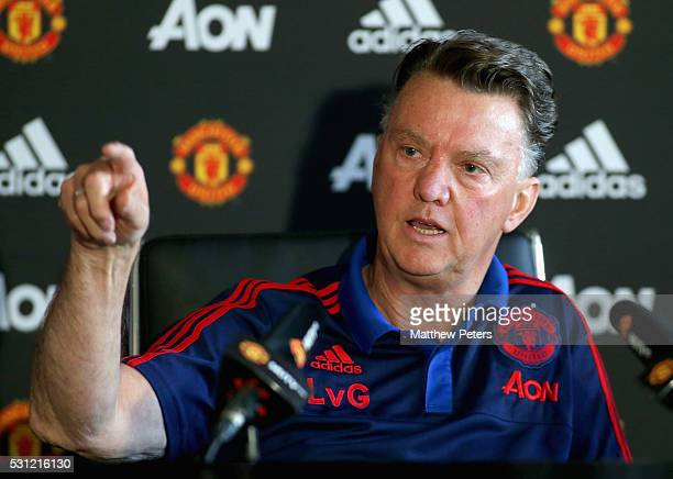 Manager Louis van Gaal of Manchester United speaks during a press conference at Aon Training Complex on May 13 2016 in Manchester England