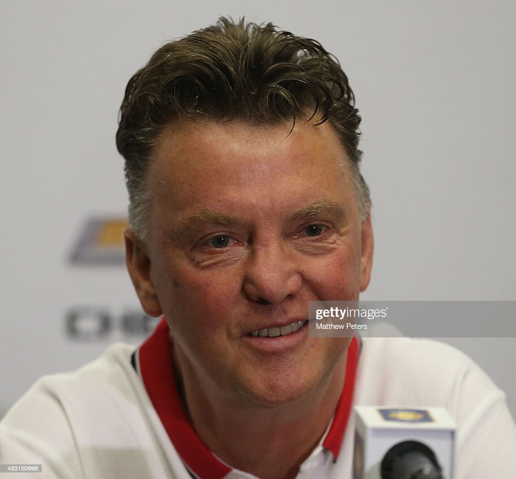 Manager Louis van Gaal of Manchester United speaks during a press conference after an open training session as part of their pre-season tour of the United States at Sunlife Stadium on August 3, 2014 in Miami, Florida.