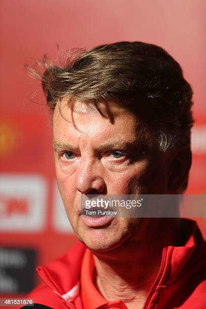 Manager Louis van Gaal of Manchester United speaks during a press conference after the International Champions Cup 2015 match between San Jose...