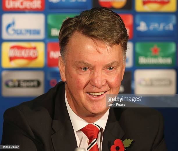 Manager Louis van Gaal of Manchester United speaks during a press conference, ahead of their UEFA Champions League match against CSKA Moscow, at Old...
