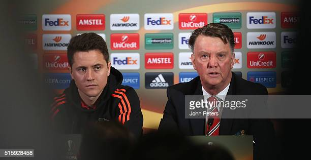 Manager Louis van Gaal of Manchester United speaks during a press conference ahead of their UEFA Europa League Round of 16 Second Leg match against...