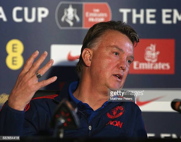 Manager Louis van Gaal of Manchester United speaks during a press conference ahead of the FA Cup Final match between Crystal Palace and Manchester...