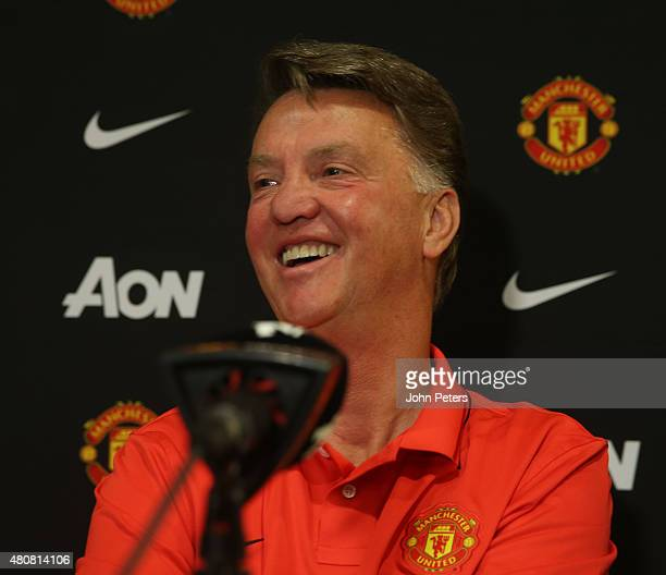 Manager Louis van Gaal of Manchester United speaks during a press conference to unveil Bastian Schweinsteiger Morgan Schneiderlin and Matteo Darmian...