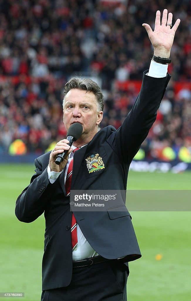 Manager Louis van Gaal of Manchester United speaks to the crowd after the Barclays Premier League match between Manchester United and Arsenal at Old Trafford on May 17, 2015 in Manchester, England.