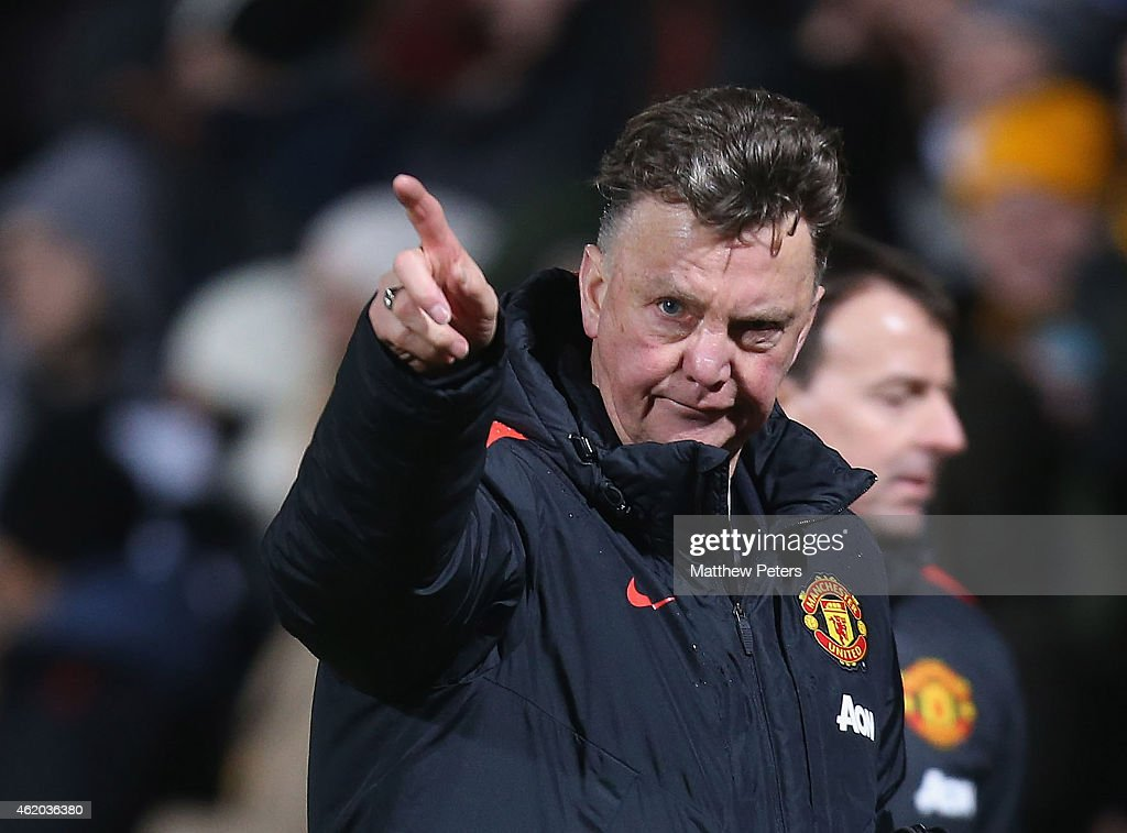 Manager Louis van Gaal of Manchester United walks off after the FA Cup Fourth Round match between Cambridge United and Manchester United at The R Costings Abbey Stadium on January 23, 2015 in Cambridge, England.