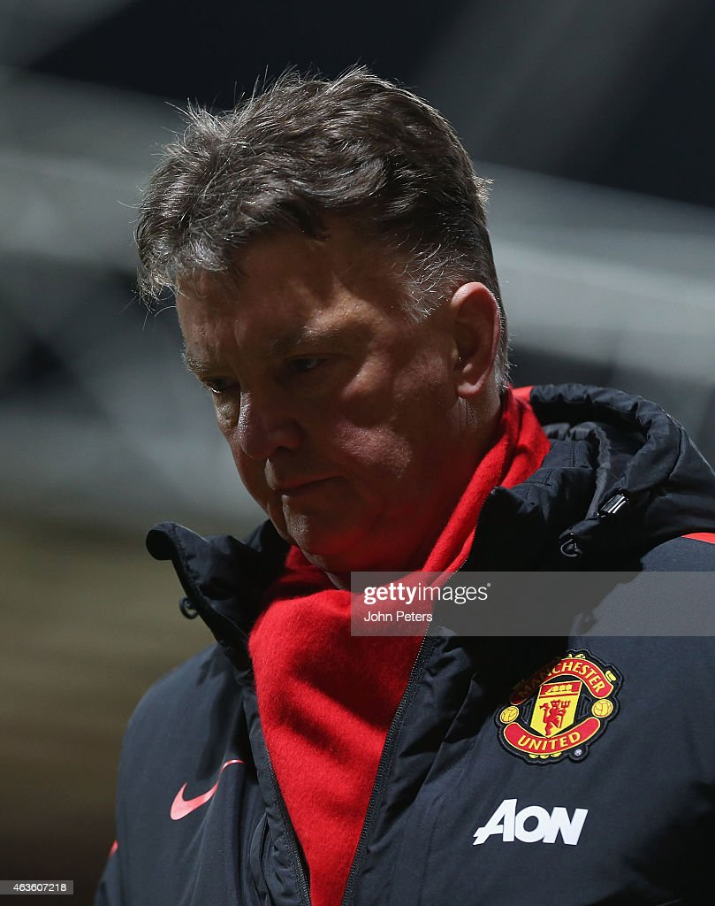 Manager Louis van Gaal of Manchester United walks off after the FA Cup Fifth Round match between Preston North End and Manchester United at Deepdale on February 16, 2015 in Preston, England.