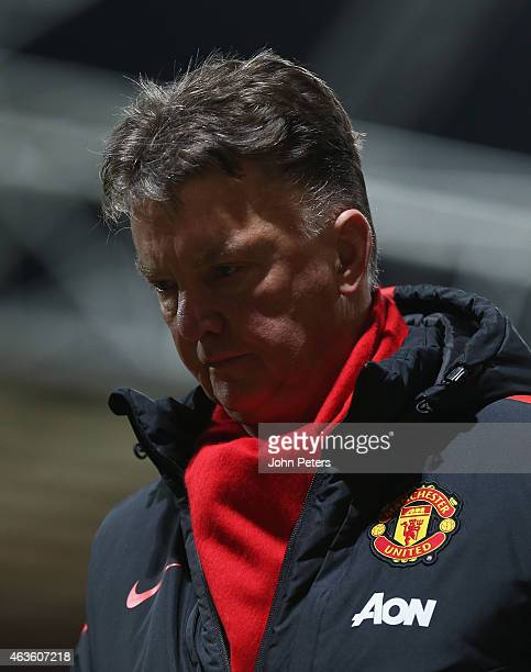 Manager Louis van Gaal of Manchester United walks off after the FA Cup Fifth Round match between Preston North End and Manchester United at Deepdale...