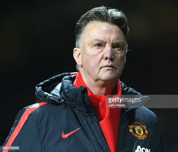 Manager Louis van Gaal of Manchester United walks off after the FA Cup Quarter Final match between Manchester United and Arsenal at Old Trafford on...